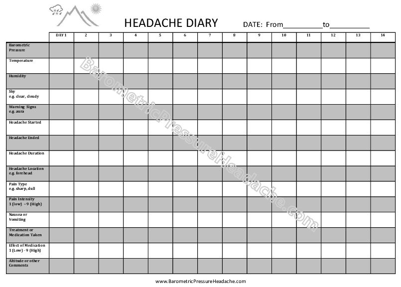 headache diary journal
